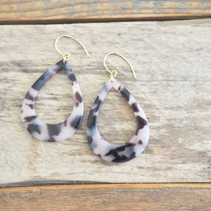 Large acetate resin earrings in blonde tortoise by Wallis Designs
