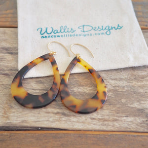 Tortoise Acetate Large Teardrop Earrings by Nancy Wallis Designs
