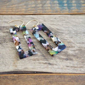 Rectangle Earrings Acetate Resin 90s Throwback earrings