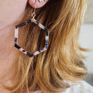 Hexagon Blonde Tortoise Earrings