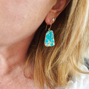 Turquoise Jasper Gold Earrings