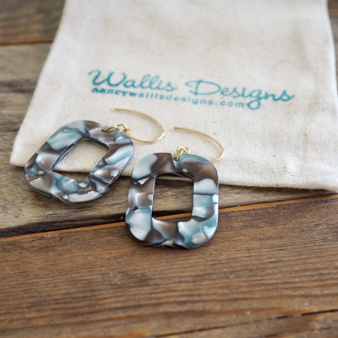 Grey Acetate Earrings in 90s style by Wallis Designs