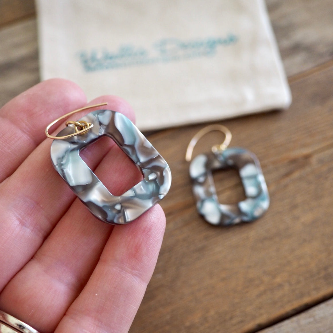 Grey Taupe Rectangle Earrings