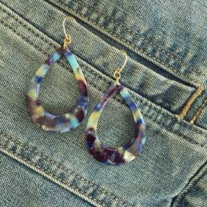 Multi Colour Blue Teardrop Earrings