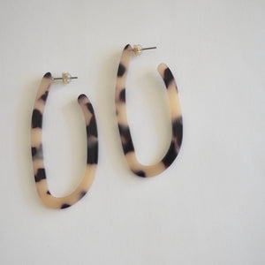 Elongated hoop tortoise acetate earrings by Wallis Designs