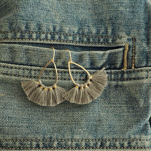 Grey Tassel Teardrop Earrings