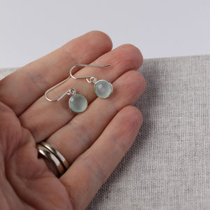 Dainty Gemstone Drop Earrings with Aqua Chalcedony