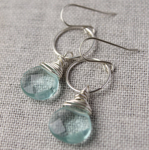 Pale Green Wire Wrapped Earrings