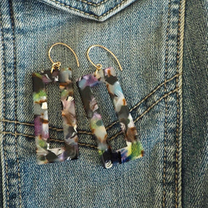 Multi colour resin earrings 90s style earrings by Wallis Designs