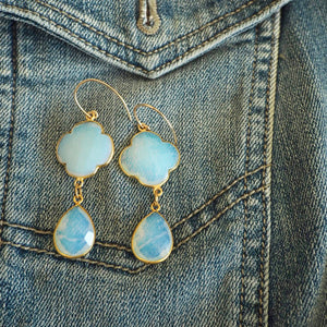 White Opal Chalcedony Long Drop Earrings by Wallis Designs