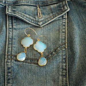 Long Drop Earrings with White Opal Chalcedony Gemstones