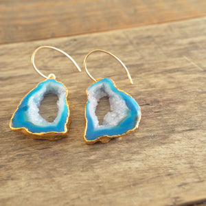 Sliced Blue Agate Earrings and Gold by Nancy Wallis Designs