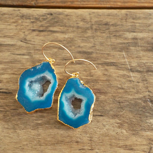 Blue Agate Earrings made in Canada by Wallis Designs