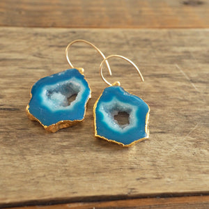 Blue Sliced Agate Earrings with Gold by Wallis Designs