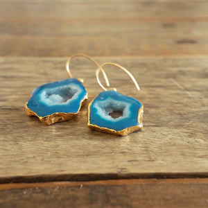 Agate Blue Stone Earrings and Gold by Wallis Designs