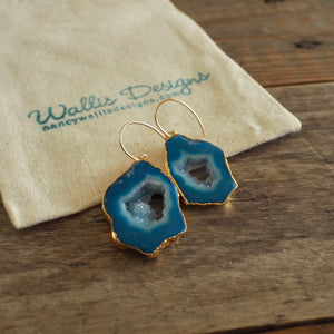 Blue Stone Earrings Sliced Agate by Nancy Wallis Designs