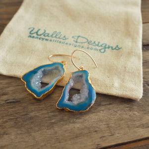Blue Agate Sliced Stone Earrings with Gold Earwires