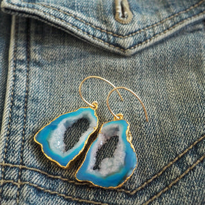 Made in Canada Blue Agate Slice Stone Earrings by Wallis Designs