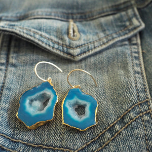 Canadian designer earrings Blue Sliced Agate Earrings