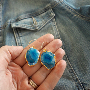 Blue Sliced Agate Gold Earrings III