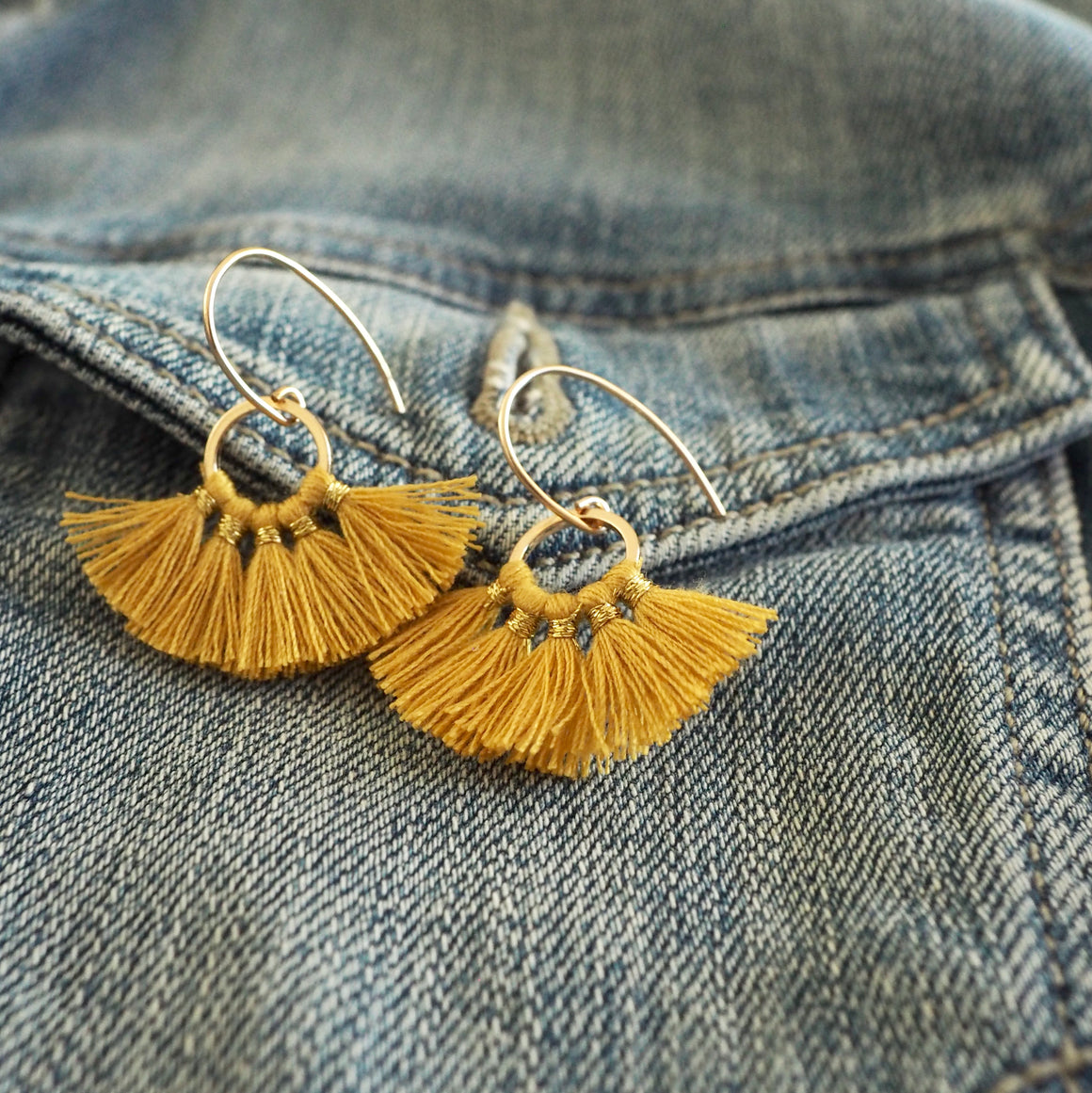 Tassel earrings in golden mustard with 14K gold filled