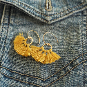 Gold Tassel Earrings for Fall by Nancy Wallis Designs