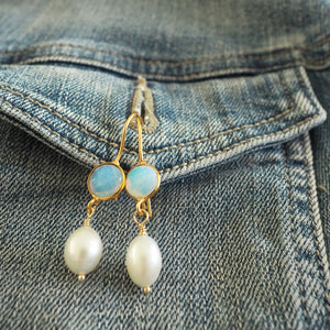 White Opal and Pearl Earrings