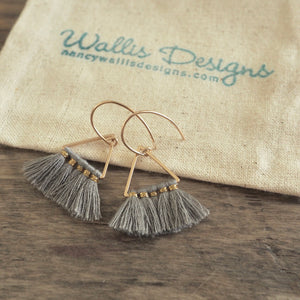 Geometric Triangle Tassel Earrings by Nancy Wallis Designs
