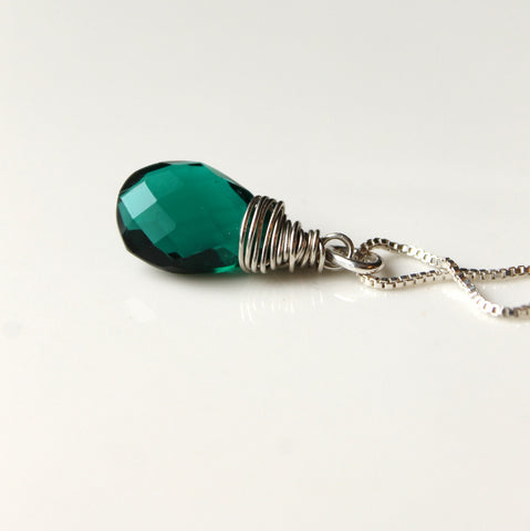 Sterling silver necklace with hand wrapped gemstone