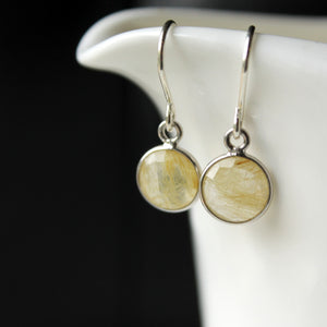 Gemstone Earrings in Golden Rutilated Quartz