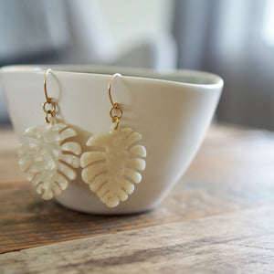 Monstera Leaf Acetate Earrings 14K gold filled earwire