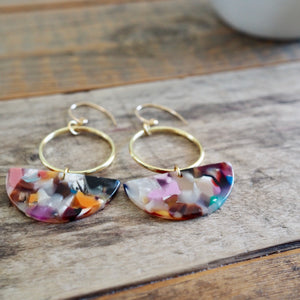 Multi Colour Tortoise Half Moon Earrings