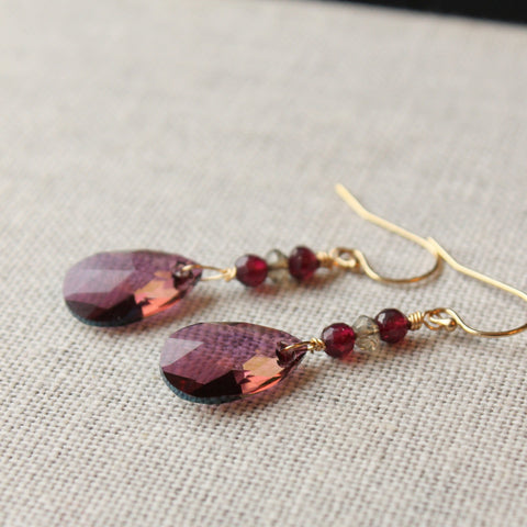 Lilac Crystal and Garnet Earrings