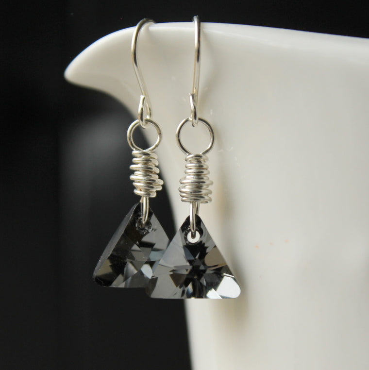Crystal Triangle Earrings in Silver Night