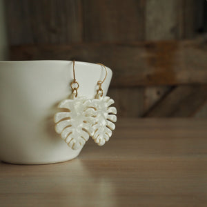 White Acetate Earrings by Nancy Wallis Designs in Canada