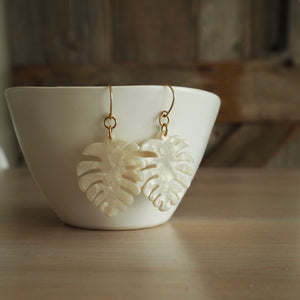 White Leaf Earrings with 14K gold filled earwires Wallis Designs