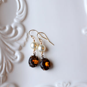 Topaz and Pearl Rhinestone Earrings