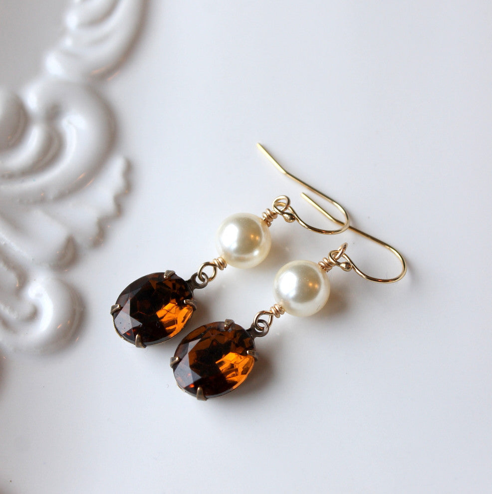 Topaz and Pearl Earrings for your Vintage Wedding