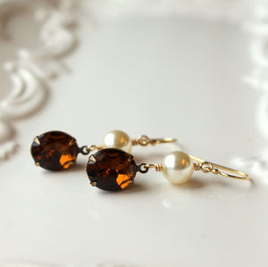 Vintage Rhinestone Earrings with Swarovski Pearls