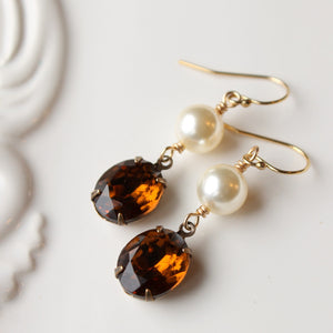 Vintage Rhinestone and Pearl Earrings for the Bride