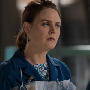 Emily Deschanel on Bones wearing Wallis Designs necklace