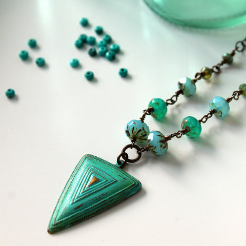 Turquoise Shield Brass Necklace