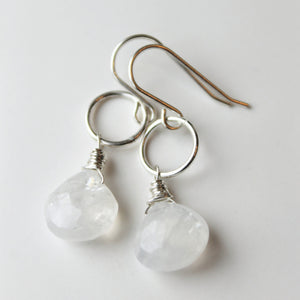 Rainbow Moonstone Teardrop Earrings