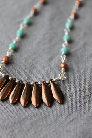 Sterling Silver Beaded Necklace with Fringe