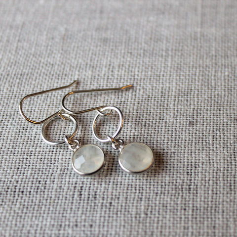 Moonstone Gemstone Earrings in Sterling Silver