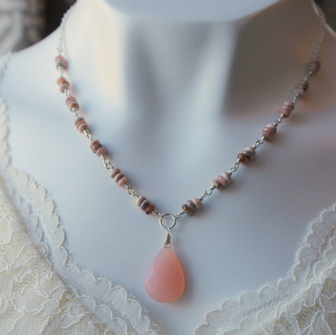 Pink Chalcedony Gemstone Necklace