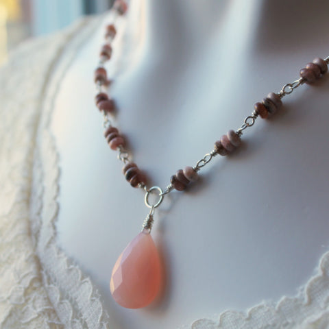 Pink Gemstone Necklace Handmade by Nancy Wallis Designs