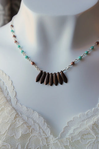 Sterling Silver Beaded Necklace Handmade by Nancy Wallis Designs