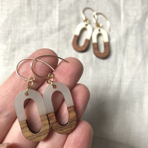 Resin and Wood Earrings Ovals for fall by Nancy Wallis Designs