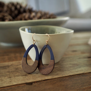 Navy and wood earring with 14K gold filled earwires